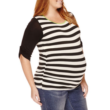 jcpenney.com | Planet Motherhood Maternity Striped Knit Top - Plus