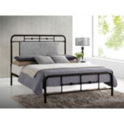 Baxton Studio Nashville Metal Platform Bed with Upholstered Headboard