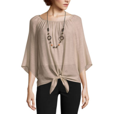 jcpenney.com | Alyx® Long-Sleeve Gauze Woven Top with Necklace