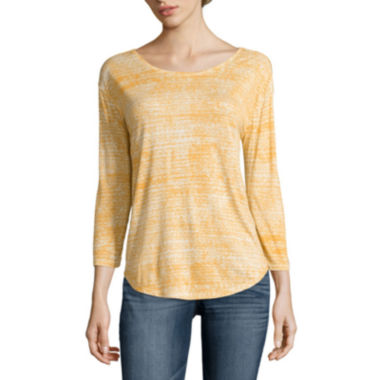 jcpenney.com | a.n.a® 3/4-Sleeve Back-Seam Tee - Petite