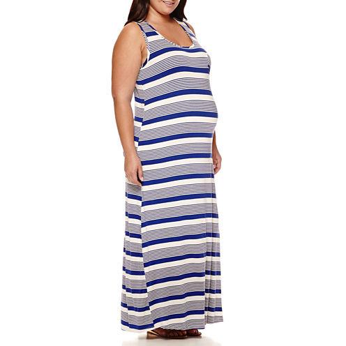 Maternity Sleeveless Knit Maxi Dress - Plus