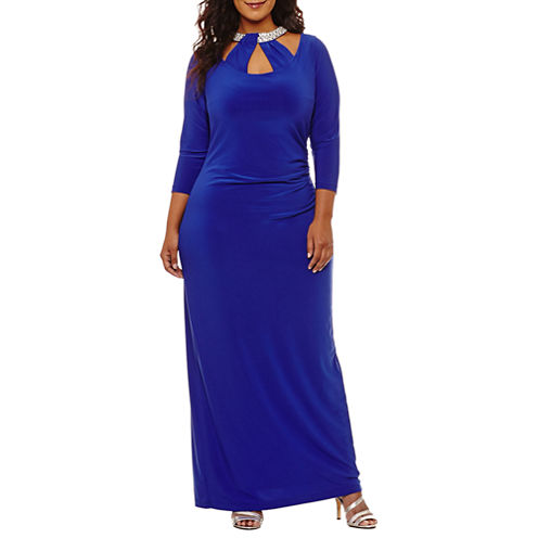 Blu Sage Long Sleeve Beaded Evening Gown-Plus