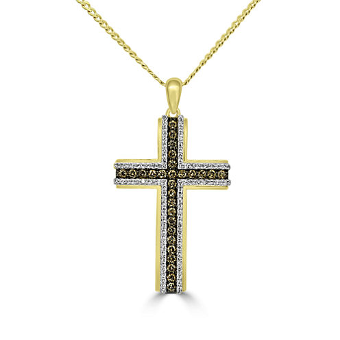 Mens 1 CT. T.W. White Diamond 10K Gold Pendant Necklace
