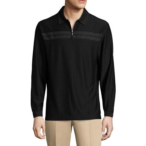 Haggar Long Sleeve Quarter-Zip Poly Polo Shirt