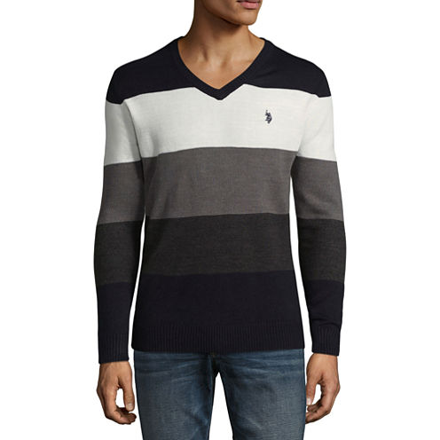 U.S. Polo Assn. V Neck Long Sleeve Jersey Pullover Sweater