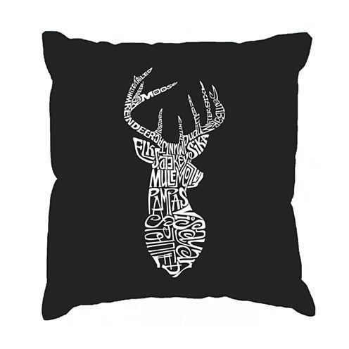 Los Angeles Pop Art Types of Deer Throw Pillow Cover