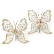 North Pole Trading Co. White Frost Set of 2 Small Butterfly Clip Ornaments