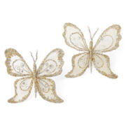 North Pole Trading Co. White Frost Set of 2 Large Butterfly Clip Ornaments