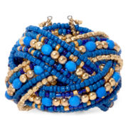 Mixit™ Gold-Tone Blue Braided Seed Bead Cuff Bracelet