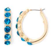 Monet® Gold-Tone Teal Hoop Earrings