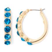 Monet® Gold-Tone Teal Hoop Earrings