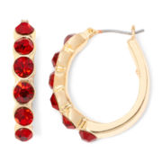 Monet® Gold-Tone Garnet-Colored Hoop Earrings