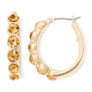 Monet® Gold-Tone Topaz-Colored Hoop Earrings