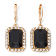 Monet® Gold-Tone Black Drop Earrings