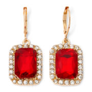 Monet® Gold-Tone Garnet-Colored Drop Earrings