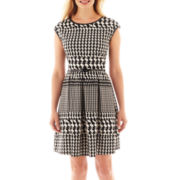 Tiana B. Belted Houndstooth Fit-and-Flare Dress - Petite