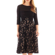 Melrose Elbow-Sleeve Shirred Lace-Skirt Dress - Petite