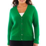 Liz Claiborne® Long-Sleeve Basketweave Cardigan Sweater - Plus