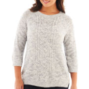 Liz Claiborne 3/4-Sleeve Cable Sweater - Plus