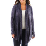 Liz Claiborne Long-Sleeve Drape-Front Cardigan Sweater - Plus