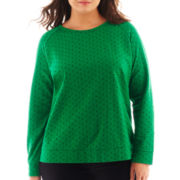 Liz Claiborne Long-Sleeve Dot Sweatshirt - Plus