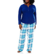 Liz Claiborne® Long-Sleeve Henley Sleep Tee or Flannel Pants - Plus