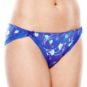 Ambrielle® Lace-Trim Microfiber Bikini Panties