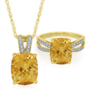 14K Gold over Silver Genuine Citrine Cushion and Lab-Created White Sapphire Jewelry