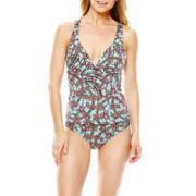 a.n.a® Sun Ray Print Halterkini Swim Top or Hipster Bottoms