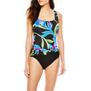 Robby Len by Longitude® China Lily Sash One-Piece Tank Swimsuit