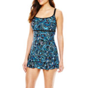 Robby Len by Longitude® Mystic Empire-Waist One-Piece Swimdress