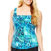 Jamaica Bay® Pleated Tankini Swim Top - Plus
