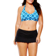 a.n.a® Geo Print Halter Bra Swim Top or Solid Skirted Bottoms