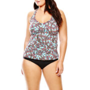 a.n.a® Print Halterkini Swim Top or Solid Hipster Bottoms - Plus