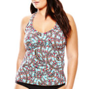 a.n.a® Sun Ray Print Halterkini Swim Top - Plus