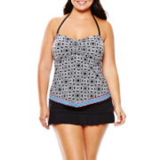 a.n.a® Geo Print Bandeaukini Swim Top or Solid Skirted Bottoms - Plus