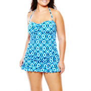 a.n.a® Draped Bandeau One-Piece Swimdress - Plus