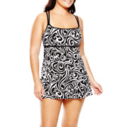 Robby Len by Longitude® Princess Seam One-Piece Swimdress - Plus