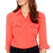 a.n.a® Long-Sleeve Rayon Shirt - Petite