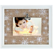 Winter Cottage Snowflakes Burlap Clip 4x6