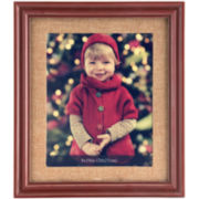 Red Wood and Burlap Matted 8x10 Picture Frame
