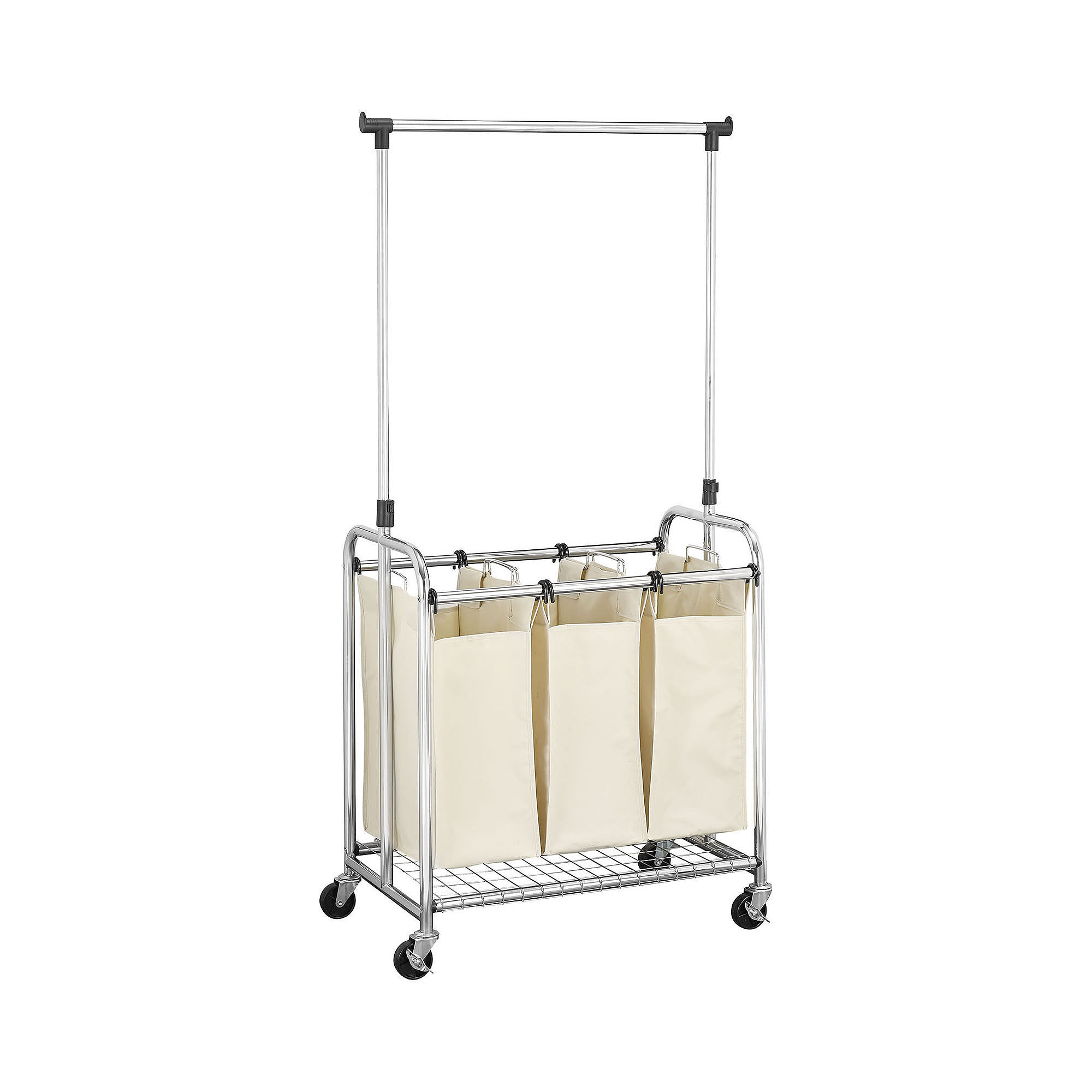 Household Essentials 3-Bag Laundry Sorter with Clothes Rack