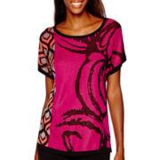 Worthington® Short-Sleeve Mix Print Pullover Sweater - Tall