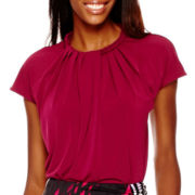 Worthington® Short-Sleeve Braided Neck Top