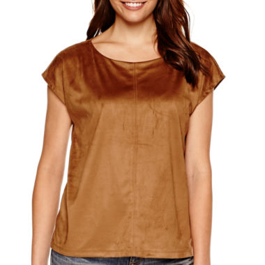 jcpenney.com | a.n.a® Short-Sleeve Faux-Suede T-Shirt
