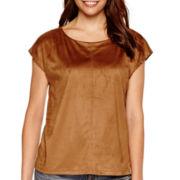 a.n.a® Short-Sleeve Faux-Suede T-Shirt