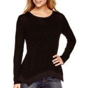 a.n.a® Long-Sleeve Woven-Back Textured Knit Top- Petite