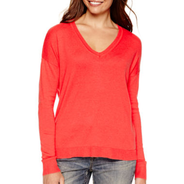 jcpenney.com | a.n.a® Long-Sleeve V-Neck High-Low Sweater