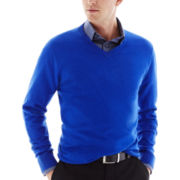 Claiborne® Solid Cotton-Cashmere V-Neck Sweater