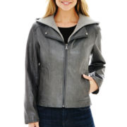 a.n.a® Faux-Leather Hooded Scuba Jacket
